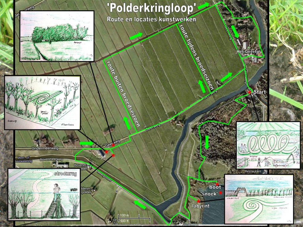 Kaart met route en kunstwerken polderkringloop 020713 kl-1
